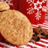 Freshly baked snickerdoodle cookies with cinnamon sticks and snowflake mug on festive holiday placemat. (sugar crystals scattered in foreground)  Closeup with shallow dof.